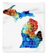 Michigan State Map - Counties By Sharon Cummings Fleece Blanket