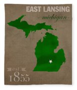 Michigan State University Spartans East Lansing College Town State Map Poster Series No 004 Fleece Blanket
