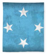Micronesia Flag Vintage Distressed Finish Fleece Blanket