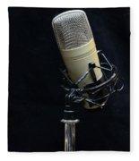 Microphone On Black Fleece Blanket