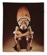 Mictlantecuhtli Lord Of Mictlan Remojadas Style, From Los Cerros, Tierra Blanca, Vera Cruz Pottery Fleece Blanket