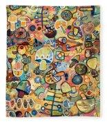 Mid Century Mushroom Madness Fleece Blanket