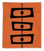 Mid Century Shapes On Orange Fleece Blanket