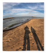 Mid Dec Day At The Beach...who Can Argue At Presque Isle State Park Series Fleece Blanket