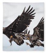 Midair Fish Steal Fleece Blanket