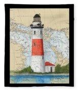 Middle Island Lighthouse Mi Cathy Peek Nautical Chart Art Fleece Blanket