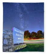 Midnight At Mount Mitchell Entrance Sign Fleece Blanket