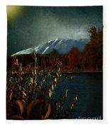 Midnight Blue In The Mountains Fleece Blanket