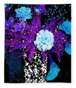 Midnight Callas And Orchids Abstract Fleece Blanket