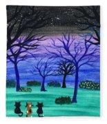 Midnight Cat Gathering Fleece Blanket