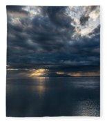 Midnight Clouds Over The Water Fleece Blanket