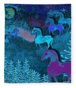 Midnight Horses Fleece Blanket