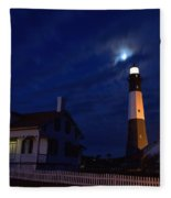 Midnight Moon Over Tybee Island Fleece Blanket