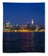 Midtown Manhattan Skyline View Fleece Blanket