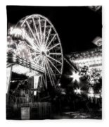 Midway Attractions In Black And White Fleece Blanket