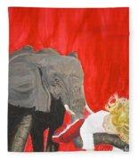 Mika And Elephant Fleece Blanket