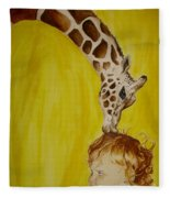 Mika And Giraffe Fleece Blanket