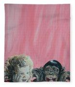 Mika And Monkey Fleece Blanket