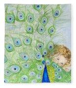 Mika And Peacock Fleece Blanket