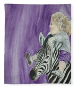 Mika And Zebra Fleece Blanket