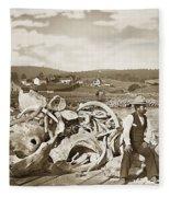 Mike Noon Monterey Whaler On Montereys Wharf  Circa 1890 Fleece Blanket