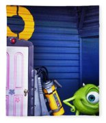 Mike With Boo's Door - Monsters Inc. In Disneyland Paris Fleece Blanket
