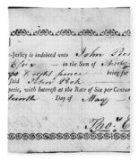 Military Due Bill, 1784 Fleece Blanket