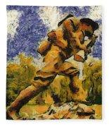 Military Ww I Doughboy 02 Photo Art Fleece Blanket