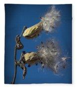 Milkweed Pods On A Blue Background  Fleece Blanket