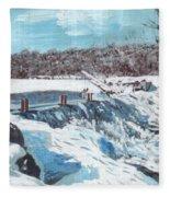 Mill Pond In Winter Fleece Blanket