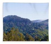 Mill Valley Ca Hills With Fog Coming In Left Panel Fleece Blanket