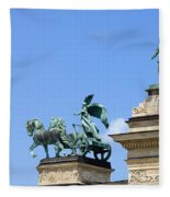 Millennium Monument In Budapest Fleece Blanket