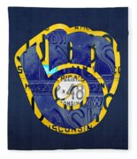 Milwaukee Brewers Vintage Baseball Team Logo Recycled Wisconsin License Plate Art Fleece Blanket