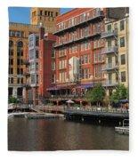 Milwaukee River Architecture 4 Fleece Blanket