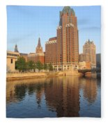 Milwaukee River Theater District 4 Fleece Blanket