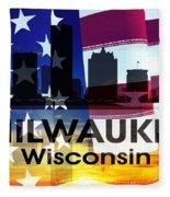 Milwaukee Wi Patriotic Large Cityscape Fleece Blanket