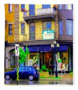 Mimi And Coco Clothing Boutique Laurier In The Rain  Plateau Montreal City Scenes Carole Spandau Art Fleece Blanket