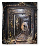 Mine Shaft Mural Fleece Blanket