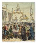 Miners In Saloon, 1852 Fleece Blanket