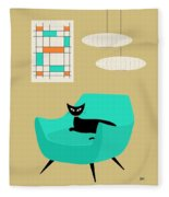 Mini Abstract With Aqua Chair Fleece Blanket