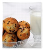 Mini Chocolate Chip Muffins And Milk - Bakery - Snack - Dairy - 1 Fleece Blanket