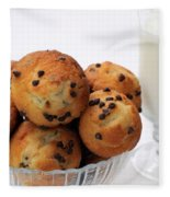 Mini Chocolate Chip Muffins And Milk - Bakery - Snack - Dairy - 2 Fleece Blanket