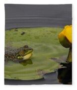 Mink Frog On Lilypad  Fleece Blanket