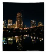 Minneapolis Night Skyline Fleece Blanket