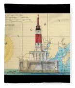 Minneapolis Shoals Lighthouse Mi Nautical Chart Map Art Fleece Blanket