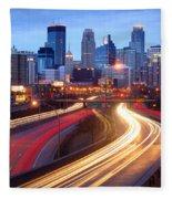 Minneapolis Skyline At Dusk Early Evening Fleece Blanket