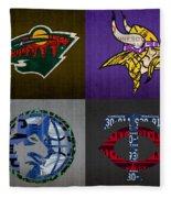 Minneapolis Sports Fan Recycled Vintage Minnesota License Plate Art Wild Vikings Timberwolves Twins Fleece Blanket