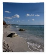 Binigaus Beach In South Coast Of Minorca With A Turquoise Crystalline Water - Paradise In Blue Fleece Blanket