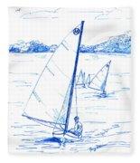 Mint Classic Moth In Blue  Fleece Blanket