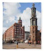 Mint Tower In Amsterdam Fleece Blanket